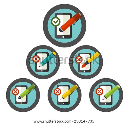 Vector sign of right and wrong using of writing utensils. Set of flat  icons. - stock vector