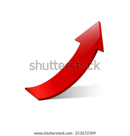 Vector sign red arrow up - stock vector