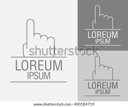 Vector sign template. Hand with a raised index finger up. Vector illustration - stock vector