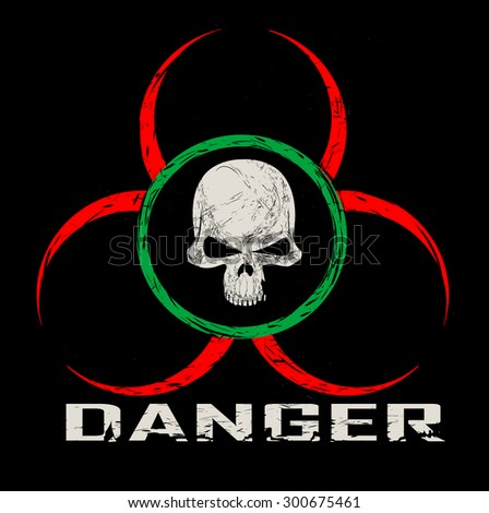 Vector sign warning of the danger. Components of pattern such as skull pattern,inscription, scratch,symbol divided between layers, and easy to use. Vector  - stock vector