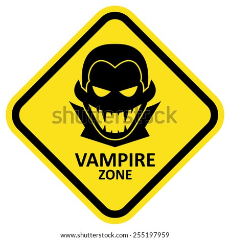 Vector sign with vampire icon and text. Format eps 10
