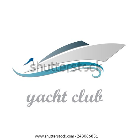 Vector sign yacht and boat - stock vector