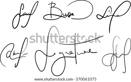 Vector signatures collection. Fictional contract signatures. Business autograph illustration - stock vector