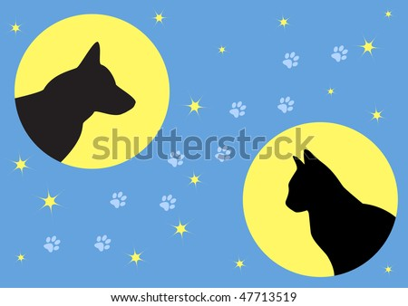 Vector signs with dog and cat on the night sky - stock vector