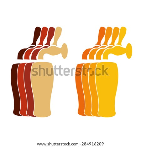 Vector silhouette beer faucets with glasses in different colors - stock vector