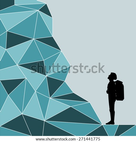 Vector silhouette climber who looks at the top at the foot of the mountain. Vector illustration scale of any size. All elements are grouped. - stock vector