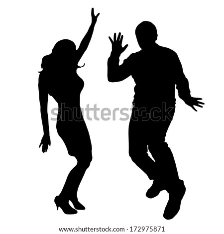 Vector silhouette dancing and entertainers with people. - stock vector