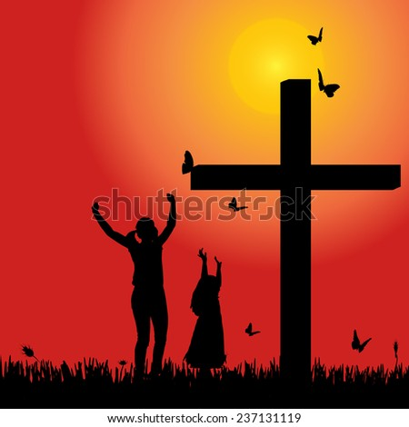 Vector silhouette family at the cross at sunset. - stock vector