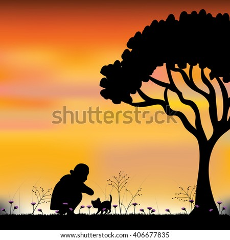 Vector silhouette girl with a cat