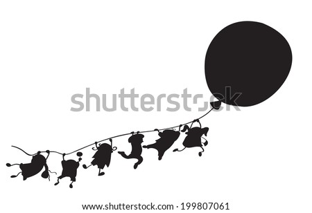 Vector silhouette happy kids cartoons with balloons isolated. - stock vector