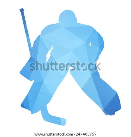 Vector silhouette hockey goalie. Abstract geometrical figure - stock vector