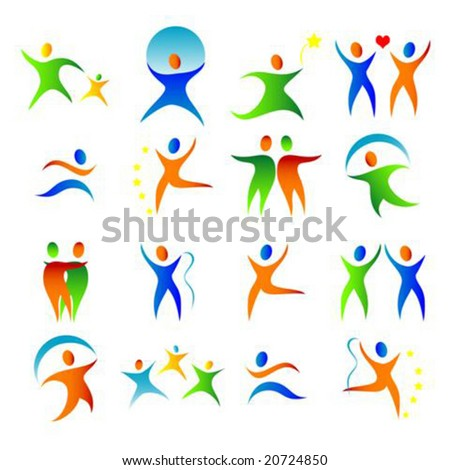 Vector silhouette illustration of a colorful people