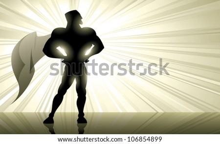 Vector silhouette illustration of a muscular superhero with golden rays of light shining from behind him and his cape fluttering in the wind. Plenty of copy space.