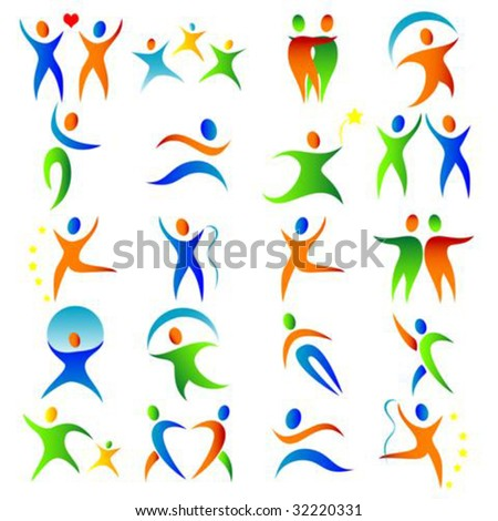 Vector silhouette illustration of a vibrant people