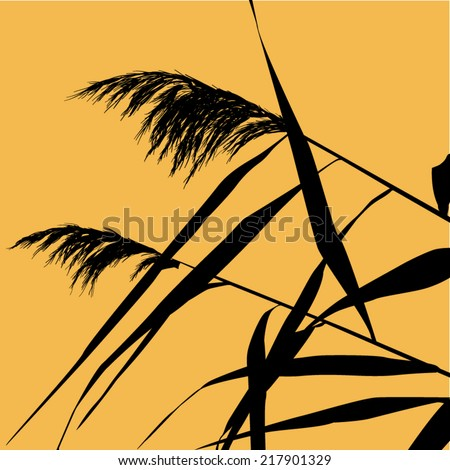 Vector silhouette illustration of beach grass blowing in the wind. - stock vector