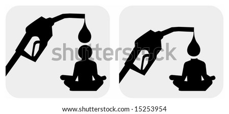 Vector silhouette image of human and petrol pump, useful as a symbol of dependence on oil. - stock vector