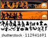 Vector Silhouette Images of Halloween Kids, Monsters, and Other Holiday Icons - stock photo