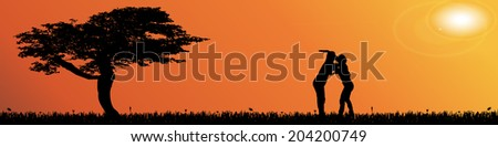 Vector silhouette landscape with trees at sunset.