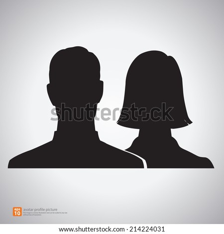 Vector silhouette man and woman icon avatar profile picture - stock vector