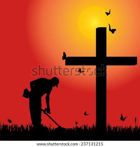 Vector silhouette man at the cross at sunset. - stock vector