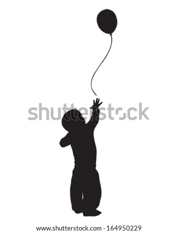 vector silhouette of a baby boy reaching for a balloon