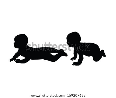Vector silhouette of a baby crawling