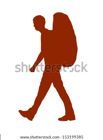 Vector Silhouette Of A Backpacker Or Hiker - stock vector