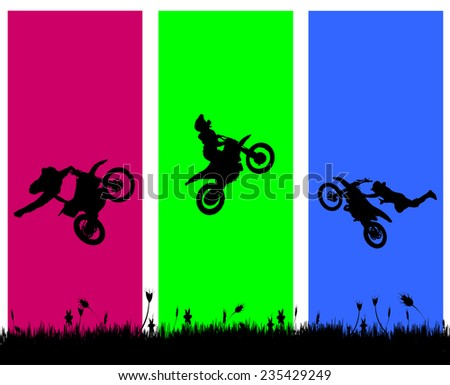 Vector silhouette of a biker who jumps. - stock vector