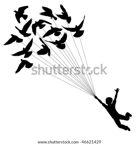 Vector silhouette of a boy carried by flying pigeons - stock vector