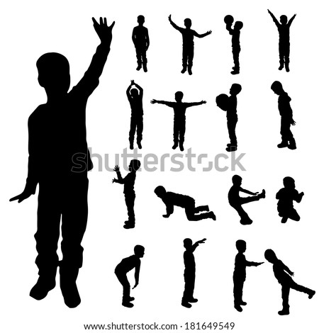 Vector silhouette of a boy on white background.