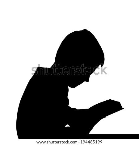 Vector silhouette of a boy's head on a white background.