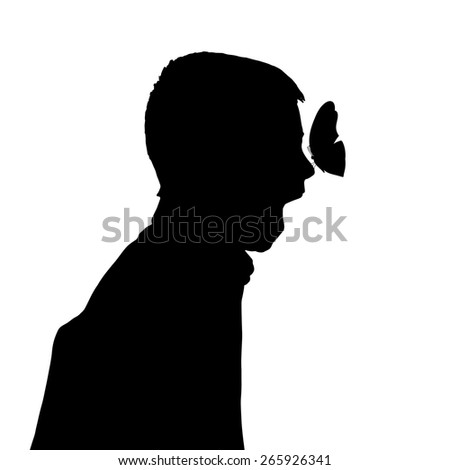 Vector silhouette of a boy with a butterfly.