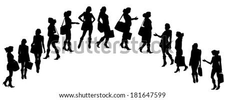 Vector silhouette of a businesswoman on a white background.