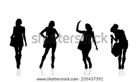 Vector silhouette of a businesswoman on a white background. - stock vector