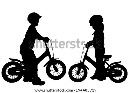 Vector silhouette of a children who rides a bike. - stock vector