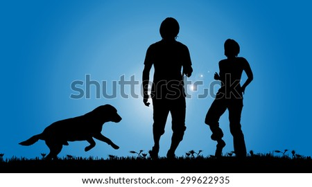 Vector silhouette of a couple with a dog on a meadow. - stock vector