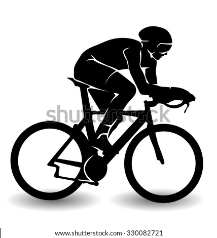 vector silhouette of a cyclist - stock vector