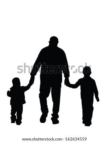 Vector Silhouette of a dad and his boys holding hands - stock vector