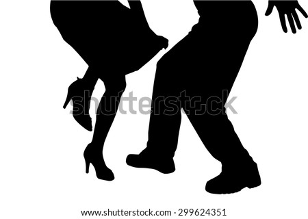 Vector silhouette of a dancing couple on a white background. - stock vector