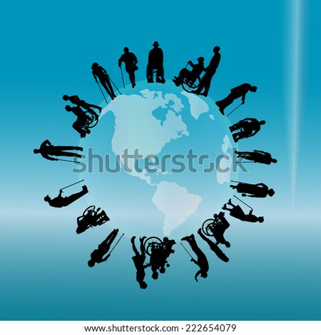 Vector silhouette of a disabled people on the globe.