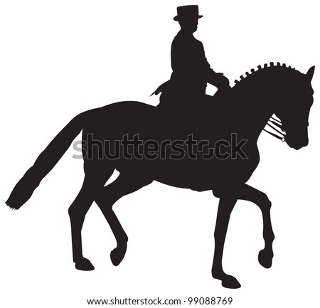 Vector Silhouette of a Dressage Horse in a Collected Trot - stock vector