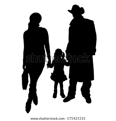 Vector silhouette of a family on white background