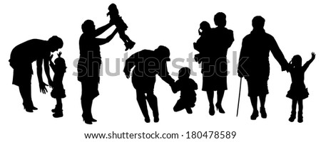 Vector silhouette of a family on white background.