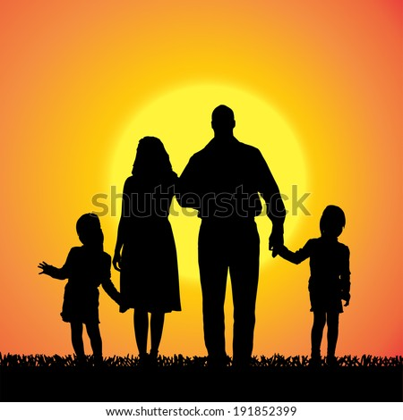Vector silhouette of a family that is out at sunset.