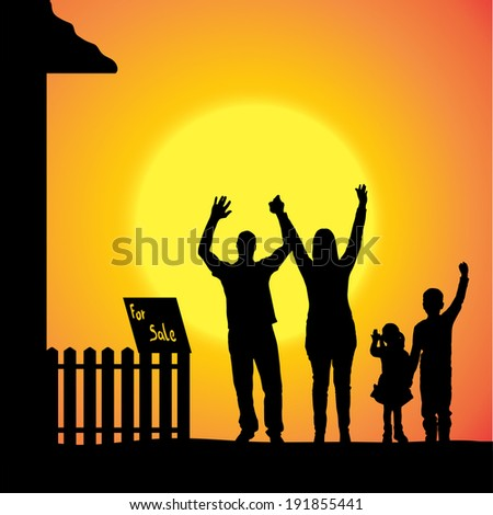 Vector silhouette of a family that is out at sunset.  - stock vector