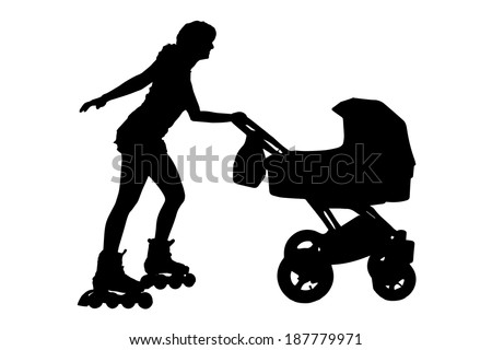 Vector silhouette of a family that sports.