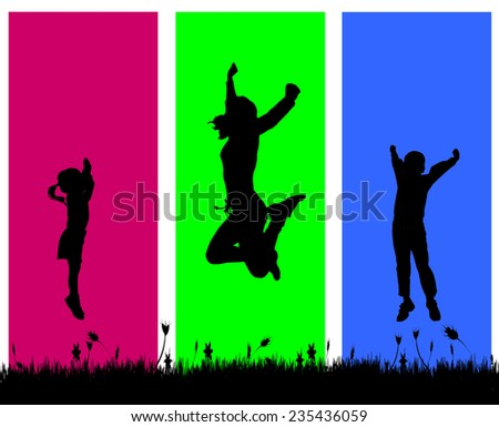 Vector silhouette of a family who jumps on a colored background. - stock vector