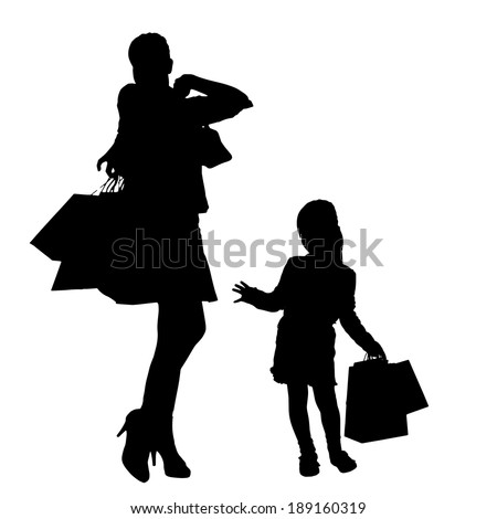Vector silhouette of a family with shopping bags.