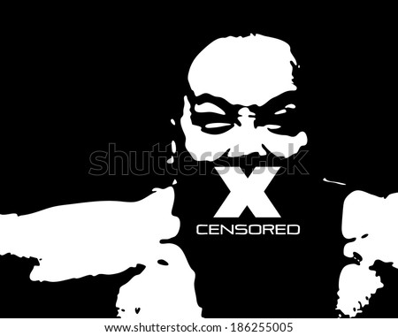 Vector silhouette of a fierce man with an X over his mouth for the concept of censorship.  - stock vector