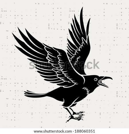 Vector silhouette of a flying black raven - stock vector